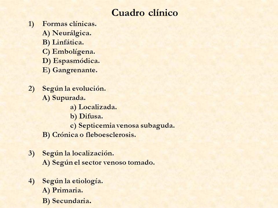 Cuadro clínico 1)Formas clínicas. A) Neurálgica. B) Linfática. C) Embolígena. D) Espasmódica. E) Gangrenante. 2)Según la evolución. A) Supurada. a) Lo
