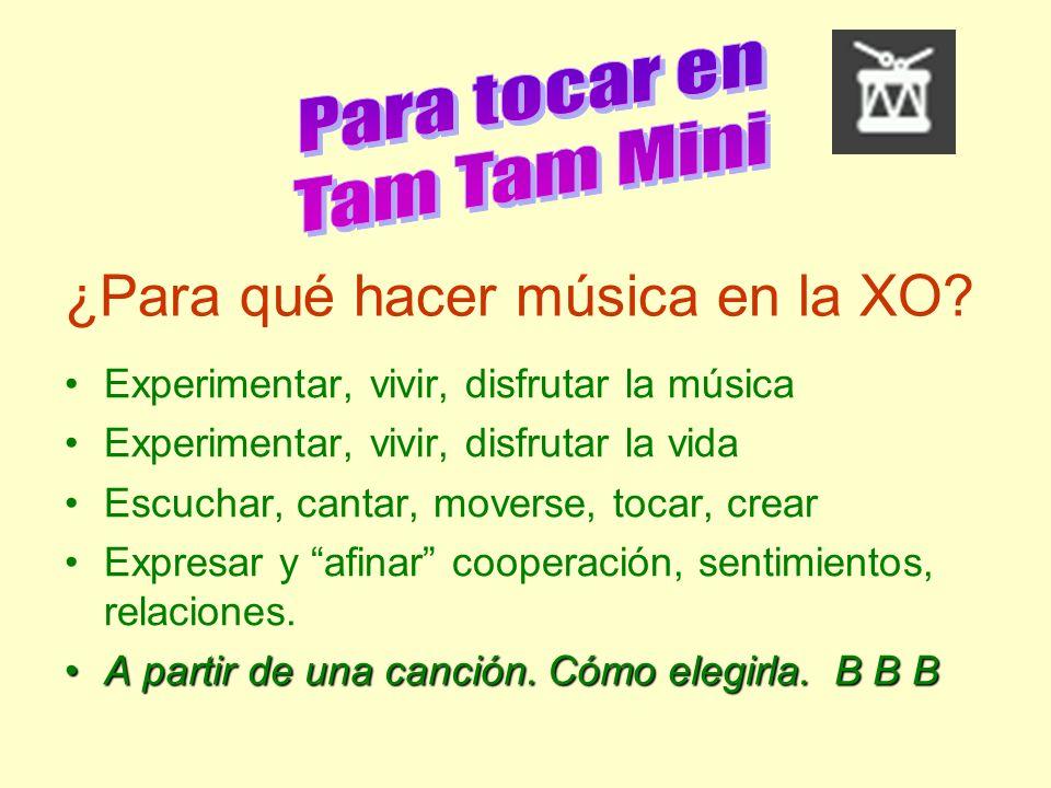 ¿Para qué hacer música en la XO? Experimentar, vivir, disfrutar la música Experimentar, vivir, disfrutar la vida Escuchar, cantar, moverse, tocar, cre
