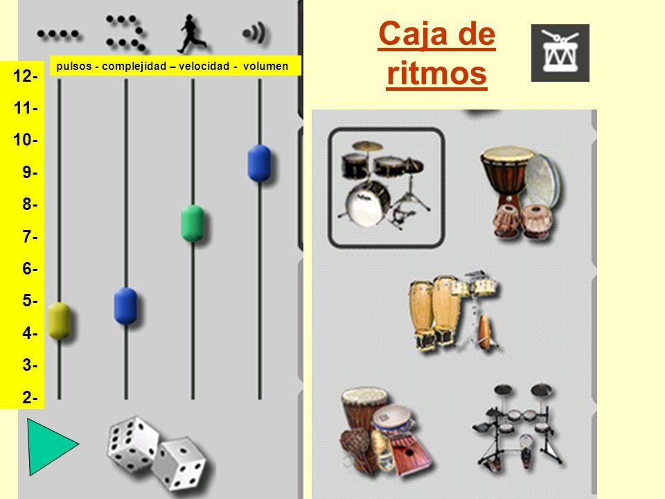 Caja de ritmos 12- 11- 10- 9- 8- 7- 6- 5- 4- 3- 2- pulsos - complejidad – velocidad - volumen