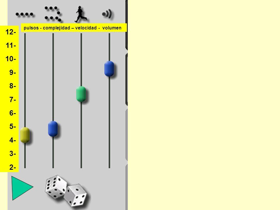 12- 11- 10- 9- 8- 7- 6- 5- 4- 3- 2- pulsos - complejidad – velocidad - volumen