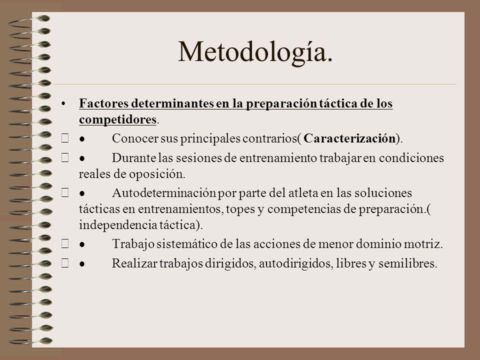 Metodología ¿ Que es la táctica? Muchos autores consideran la táctica como la forma racional de aplicación de los elementos técnicos en condiciones re