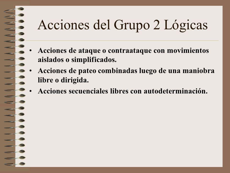 Clasificación de las acciones Grupo 1 ( Acciones de maniobras a un solo movimiento sin aposición. Acciones ofensivas a un solo movimiento sin y con op