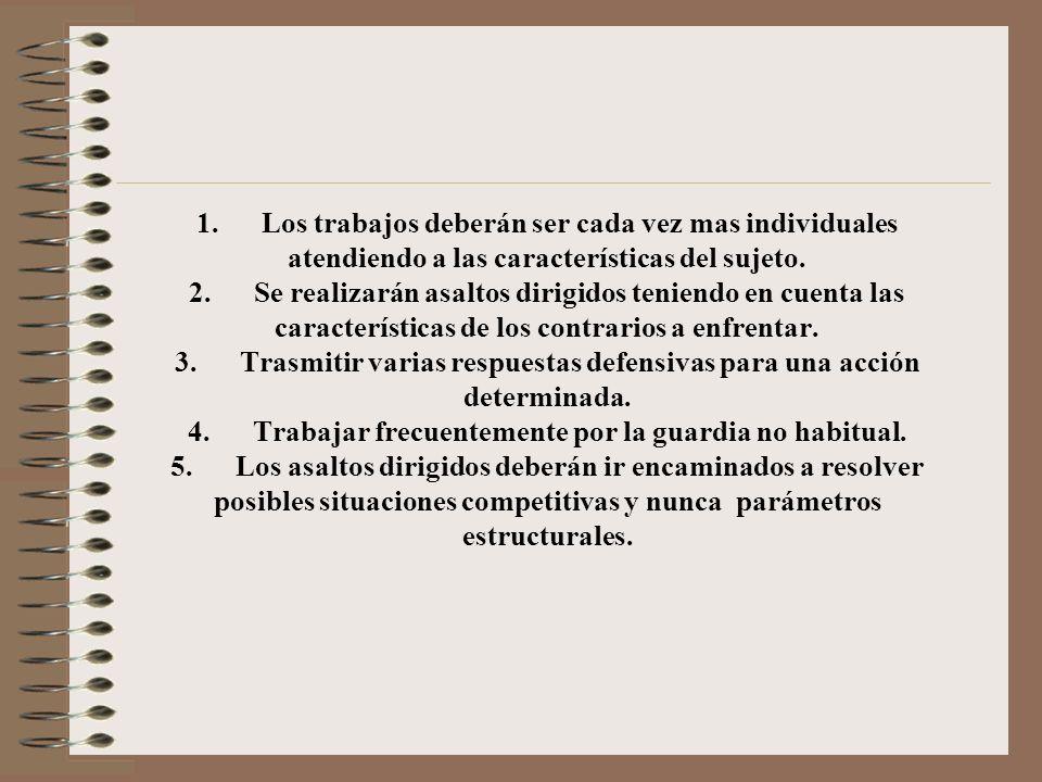 ¿Formas de organizar las acciones simplificadas? 1. Realizar asaltos dirigidos. 2. Asaltos autodirigidos 3. Asaltos libres. 4. Técnicas de visualizaci