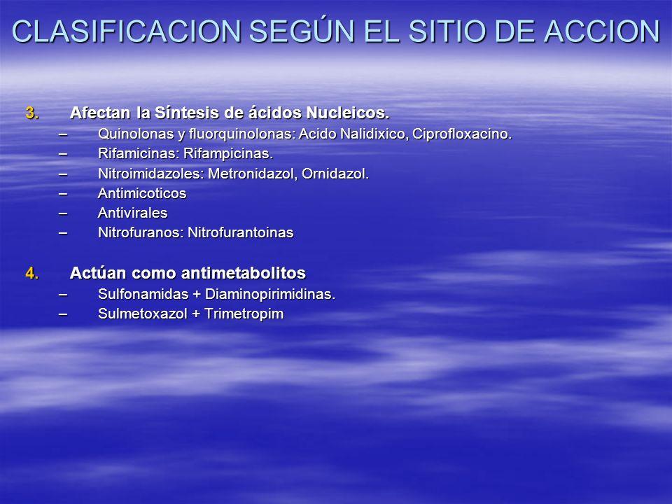 3.Afectan la Síntesis de ácidos Nucleicos. –Quinolonas y fluorquinolonas: Acido Nalidixico, Ciprofloxacino. –Rifamicinas: Rifampicinas. –Nitroimidazol
