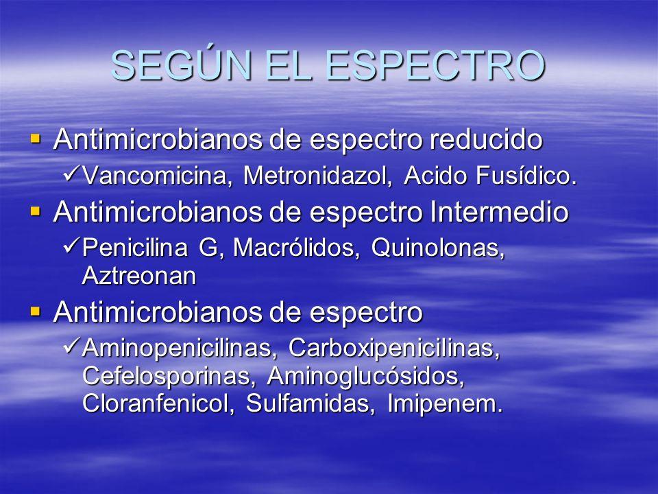 SEGÚN EL ESPECTRO Antimicrobianos de espectro reducido Antimicrobianos de espectro reducido Vancomicina, Metronidazol, Acido Fusídico. Vancomicina, Me