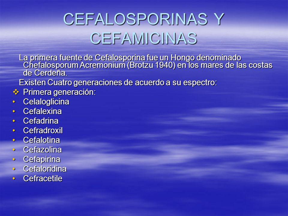 CEFALOSPORINAS Y CEFAMICINAS La primera fuente de Cefalosporina fue un Hongo denominado Chefalosporum Acremonium (Brotzu 1940) en los mares de las cos