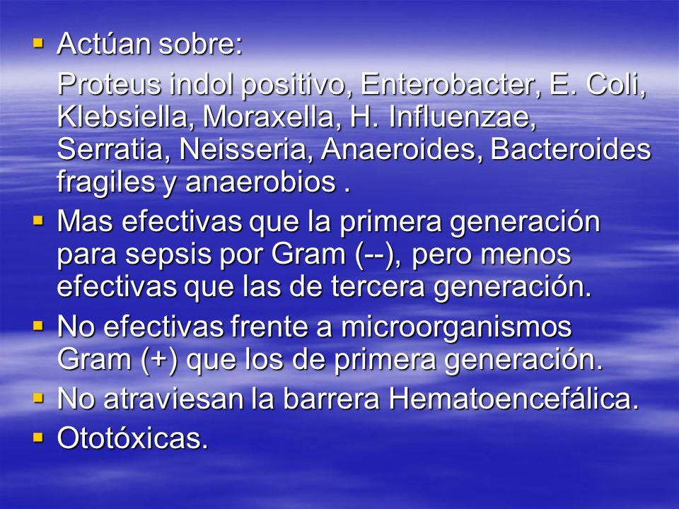 Actúan sobre: Actúan sobre: Proteus indol positivo, Enterobacter, E. Coli, Klebsiella, Moraxella, H. Influenzae, Serratia, Neisseria, Anaeroides, Bact