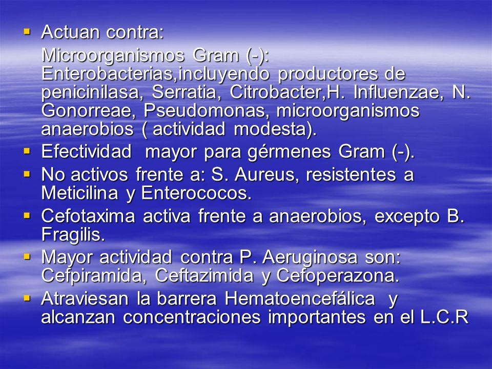 Actuan contra: Actuan contra: Microorganismos Gram (-): Enterobacterias,incluyendo productores de penicinilasa, Serratia, Citrobacter,H. Influenzae, N