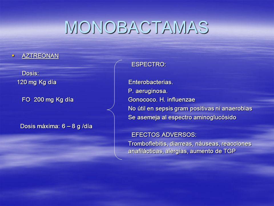 MONOBACTAMAS AZTREONAN AZTREONAN ESPECTRO: ESPECTRO: Dosis: Dosis: 120 mg Kg día Enterobacterias. 120 mg Kg día Enterobacterias. P. aeruginosa. P. aer
