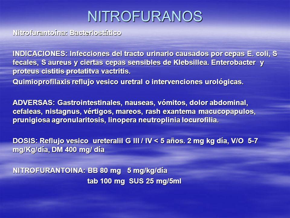 Nitrofurantoína: Bacteriostático INDICACIONES: Infecciones del tracto urinario causados por cepas E. coli, S fecales, S aureus y ciertas cepas sensibl