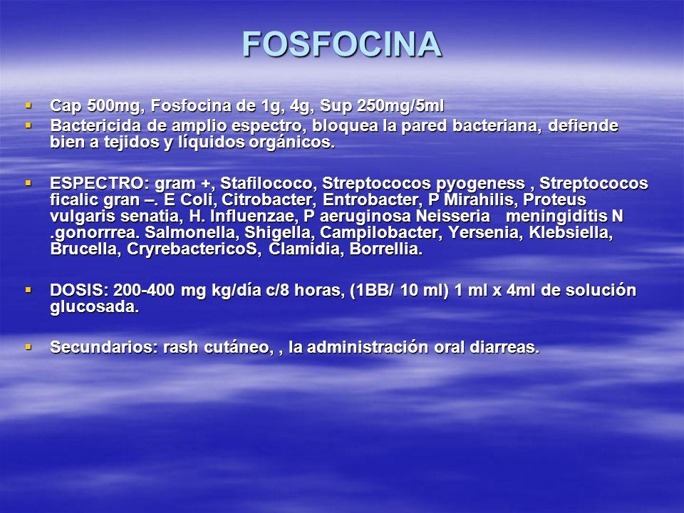 FOSFOCINA Cap 500mg, Fosfocina de 1g, 4g, Sup 250mg/5ml Cap 500mg, Fosfocina de 1g, 4g, Sup 250mg/5ml Bactericida de amplio espectro, bloquea la pared
