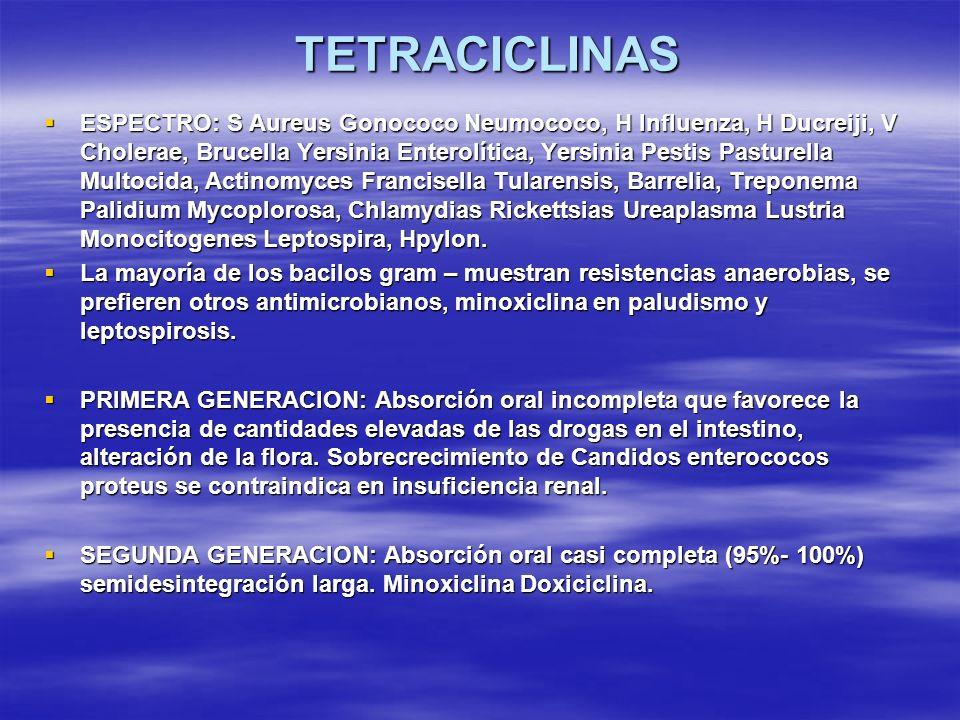 TETRACICLINAS ESPECTRO: S Aureus Gonococo Neumococo, H Influenza, H Ducreiji, V Cholerae, Brucella Yersinia Enterolítica, Yersinia Pestis Pasturella M
