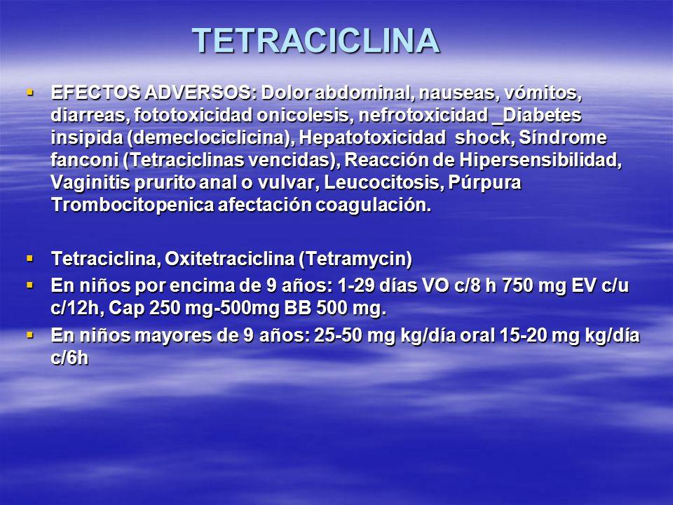 TETRACICLINA EFECTOS ADVERSOS: Dolor abdominal, nauseas, vómitos, diarreas, fototoxicidad onicolesis, nefrotoxicidad _Diabetes insipida (demeclociclic