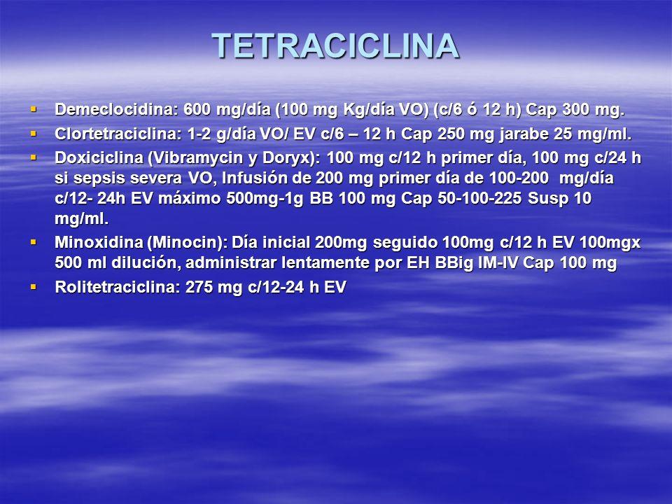 TETRACICLINA Demeclocidina: 600 mg/día (100 mg Kg/día VO) (c/6 ó 12 h) Cap 300 mg. Demeclocidina: 600 mg/día (100 mg Kg/día VO) (c/6 ó 12 h) Cap 300 m