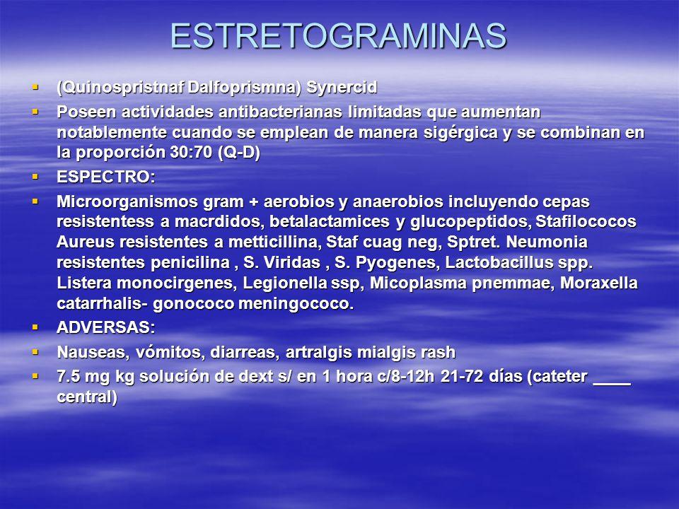 ESTRETOGRAMINAS (Quinospristnaf Dalfoprismna) Synercid (Quinospristnaf Dalfoprismna) Synercid Poseen actividades antibacterianas limitadas que aumenta