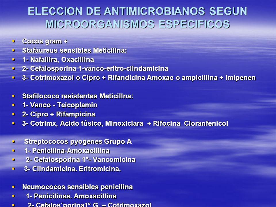ELECCION DE ANTIMICROBIANOS SEGUN MICROORGANISMOS ESPECIFICOS Cocos gram + Cocos gram + Stafaureus sensibles Meticillna: Stafaureus sensibles Meticill