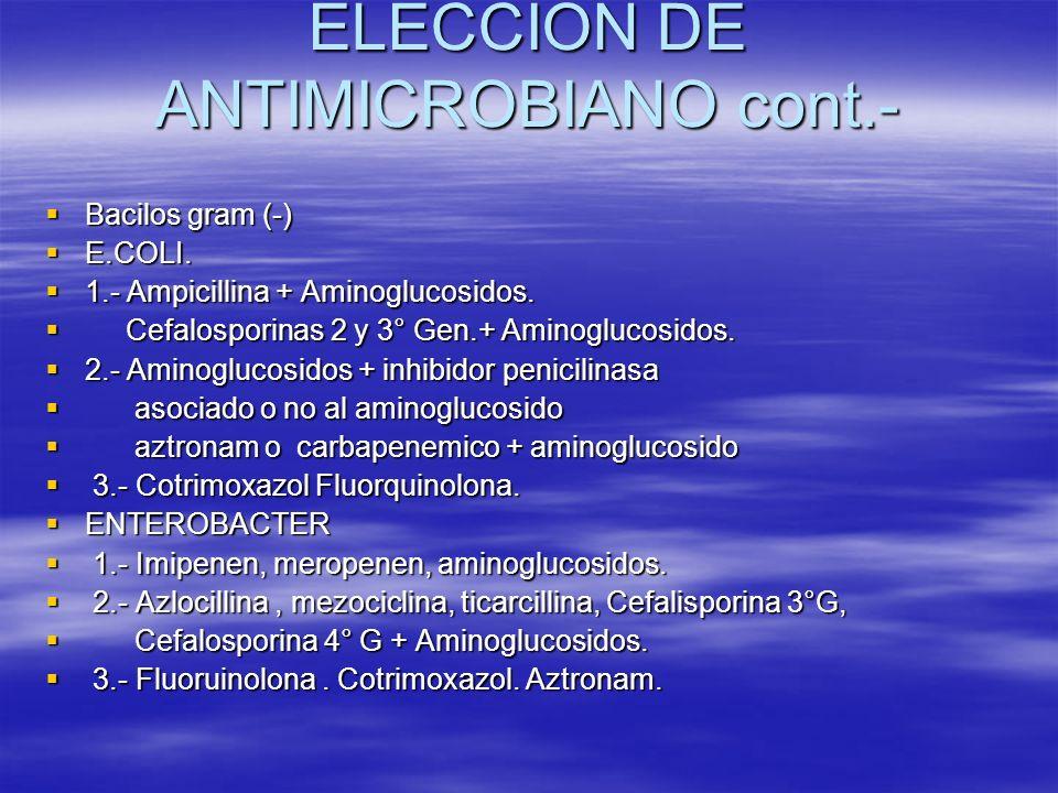 ELECCION DE ANTIMICROBIANO cont.- Bacilos gram (-) Bacilos gram (-) E.COLI. E.COLI. 1.- Ampicillina + Aminoglucosidos. 1.- Ampicillina + Aminoglucosid