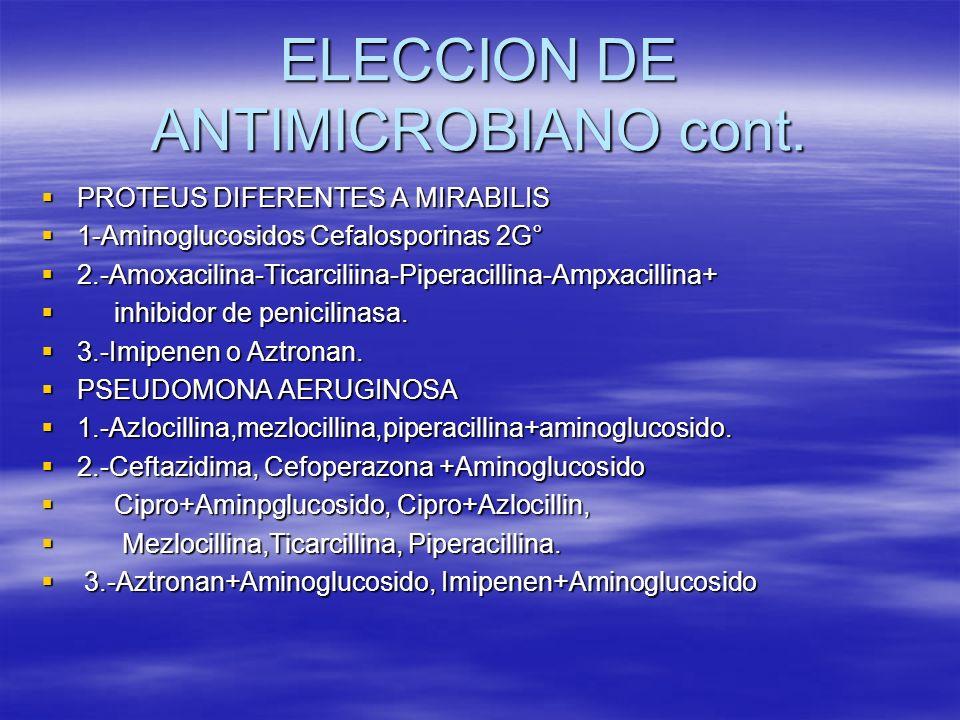 ELECCION DE ANTIMICROBIANO cont. PROTEUS DIFERENTES A MIRABILIS PROTEUS DIFERENTES A MIRABILIS 1-Aminoglucosidos Cefalosporinas 2G° 1-Aminoglucosidos