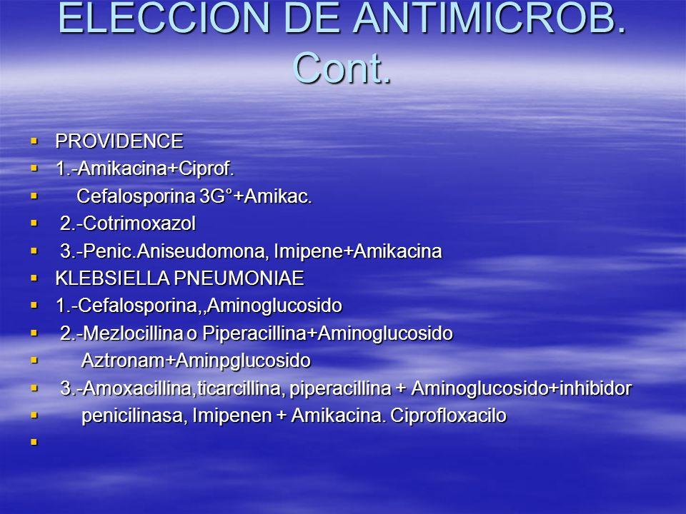 ELECCION DE ANTIMICROB. Cont. PROVIDENCE PROVIDENCE 1.-Amikacina+Ciprof. 1.-Amikacina+Ciprof. Cefalosporina 3G°+Amikac. Cefalosporina 3G°+Amikac. 2.-C