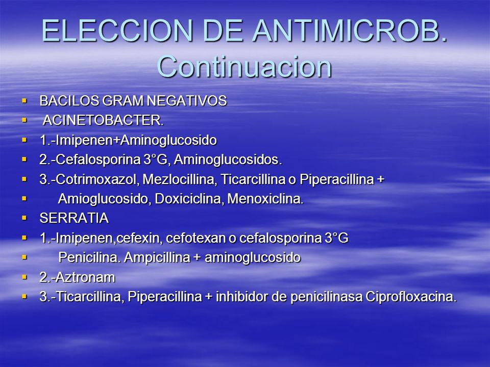 ELECCION DE ANTIMICROB. Continuacion BACILOS GRAM NEGATIVOS BACILOS GRAM NEGATIVOS ACINETOBACTER. ACINETOBACTER. 1.-Imipenen+Aminoglucosido 1.-Imipene
