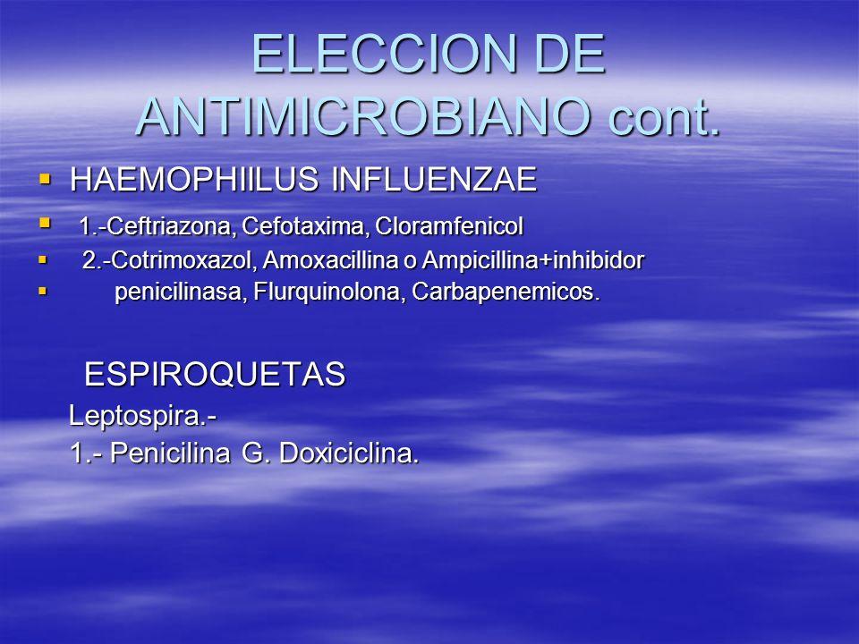 ELECCION DE ANTIMICROBIANO cont. HAEMOPHIILUS INFLUENZAE HAEMOPHIILUS INFLUENZAE 1.-Ceftriazona, Cefotaxima, Cloramfenicol 1.-Ceftriazona, Cefotaxima,