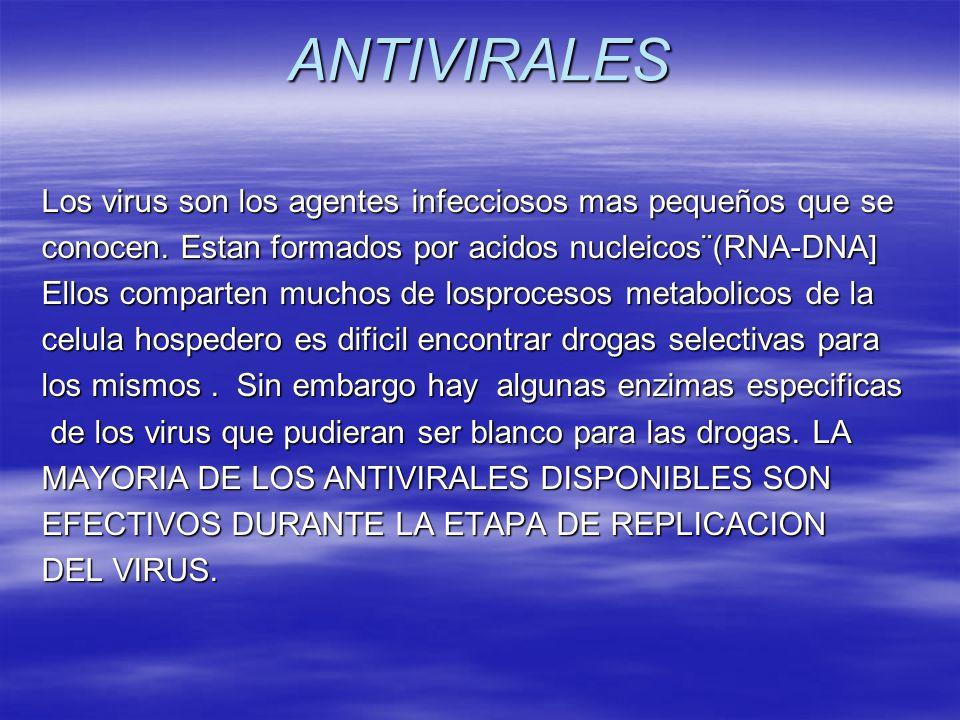 ANTIVIRALES Los virus son los agentes infecciosos mas pequeños que se conocen. Estan formados por acidos nucleicos¨(RNA-DNA] Ellos comparten muchos de