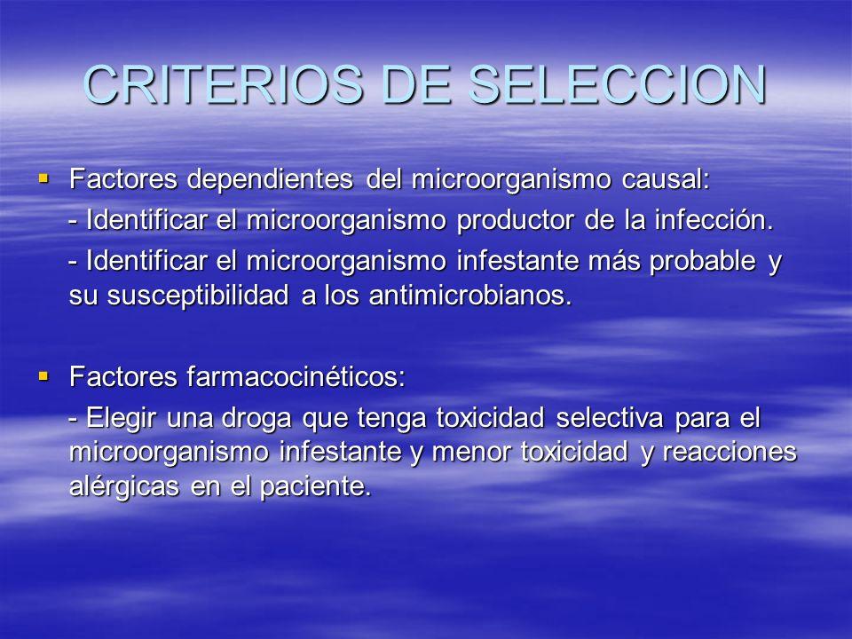 CRITERIOS DE SELECCION Factores dependientes del microorganismo causal: Factores dependientes del microorganismo causal: - Identificar el microorganis