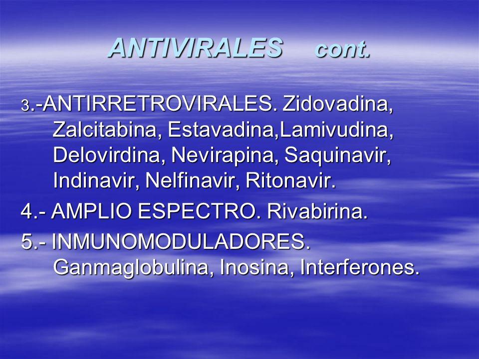 ANTIVIRALES cont. 3.-ANTIRRETROVIRALES. Zidovadina, Zalcitabina, Estavadina,Lamivudina, Delovirdina, Nevirapina, Saquinavir, Indinavir, Nelfinavir, Ri