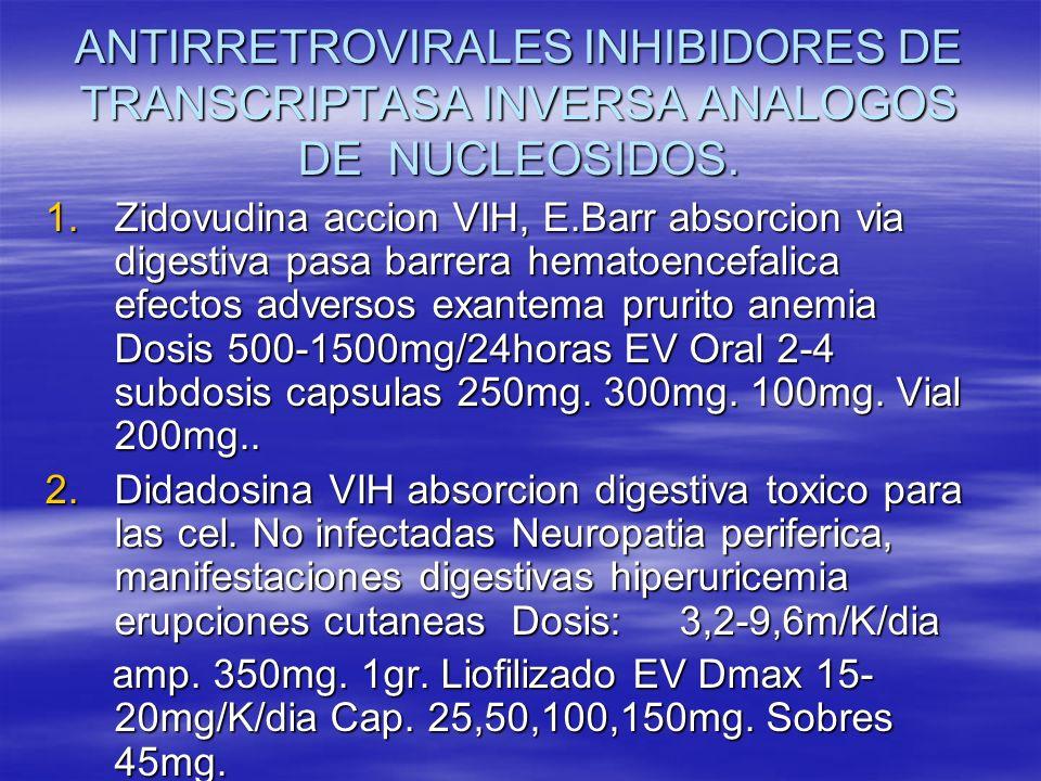 ANTIRRETROVIRALES INHIBIDORES DE TRANSCRIPTASA INVERSA ANALOGOS DE NUCLEOSIDOS. 1.Zidovudina accion VIH, E.Barr absorcion via digestiva pasa barrera h