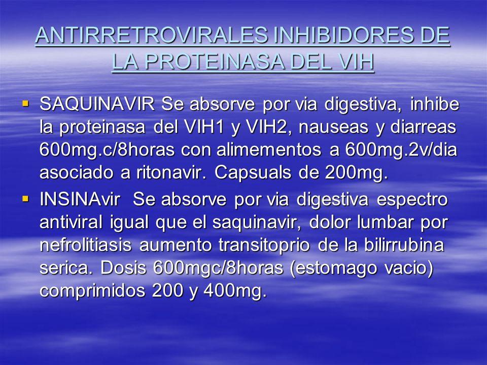 ANTIRRETROVIRALES INHIBIDORES DE LA PROTEINASA DEL VIH SAQUINAVIR Se absorve por via digestiva, inhibe la proteinasa del VIH1 y VIH2, nauseas y diarre