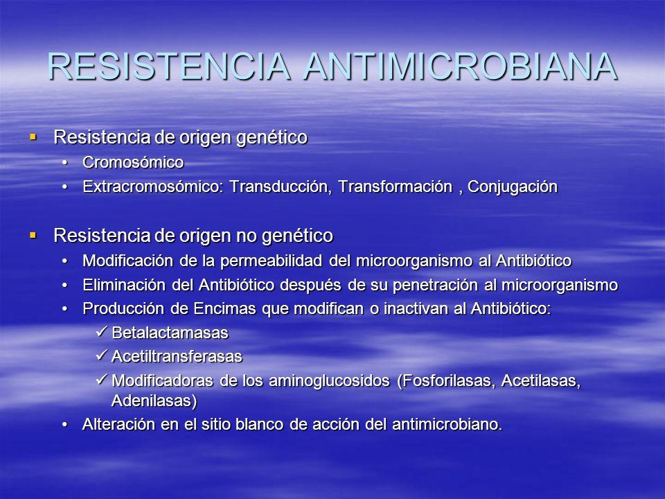 RESISTENCIA ANTIMICROBIANA Resistencia de origen genético Resistencia de origen genético CromosómicoCromosómico Extracromosómico: Transducción, Transf