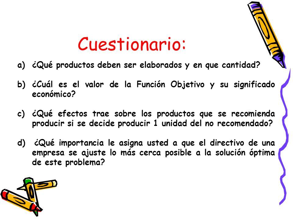a)¿Qué productos deben ser elaborados y en que cantidad? b)¿Cuál es el valor de la Función Objetivo y su significado económico? c)¿Qué efectos trae so