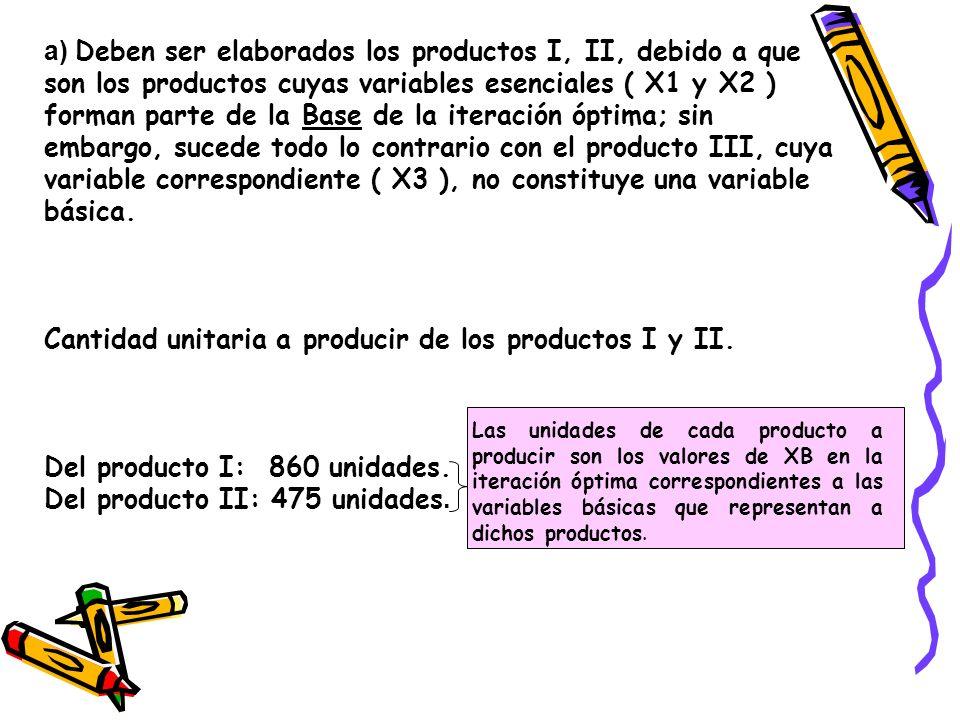a) Deben ser elaborados los productos I, II, debido a que son los productos cuyas variables esenciales ( X1 y X2 ) forman parte de la Base de la itera