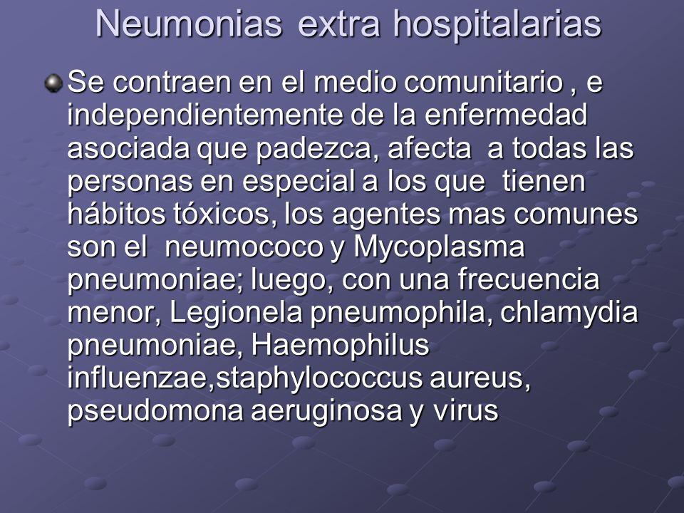 Neumonias extra hospitalarias Se contraen en el medio comunitario, e independientemente de la enfermedad asociada que padezca, afecta a todas las pers