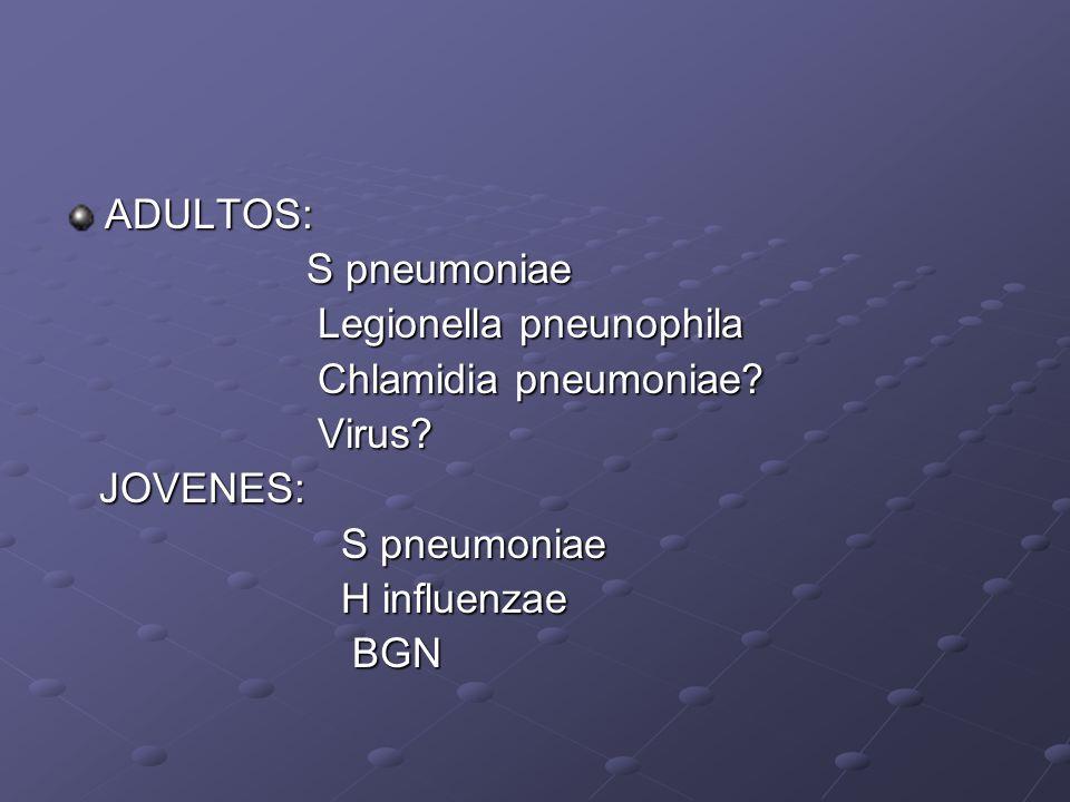 ADULTOS: S pneumoniae S pneumoniae Legionella pneunophila Legionella pneunophila Chlamidia pneumoniae? Chlamidia pneumoniae? Virus? Virus? JOVENES: JO