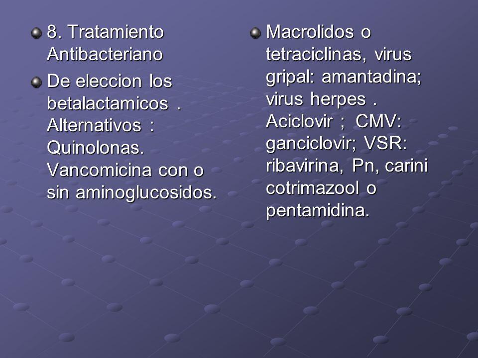 8. Tratamiento Antibacteriano De eleccion los betalactamicos. Alternativos : Quinolonas. Vancomicina con o sin aminoglucosidos. Macrolidos o tetracicl
