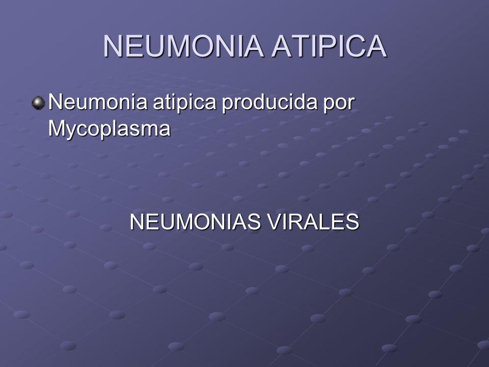 NEUMONIA ATIPICA Neumonia atipica producida por Mycoplasma NEUMONIAS VIRALES