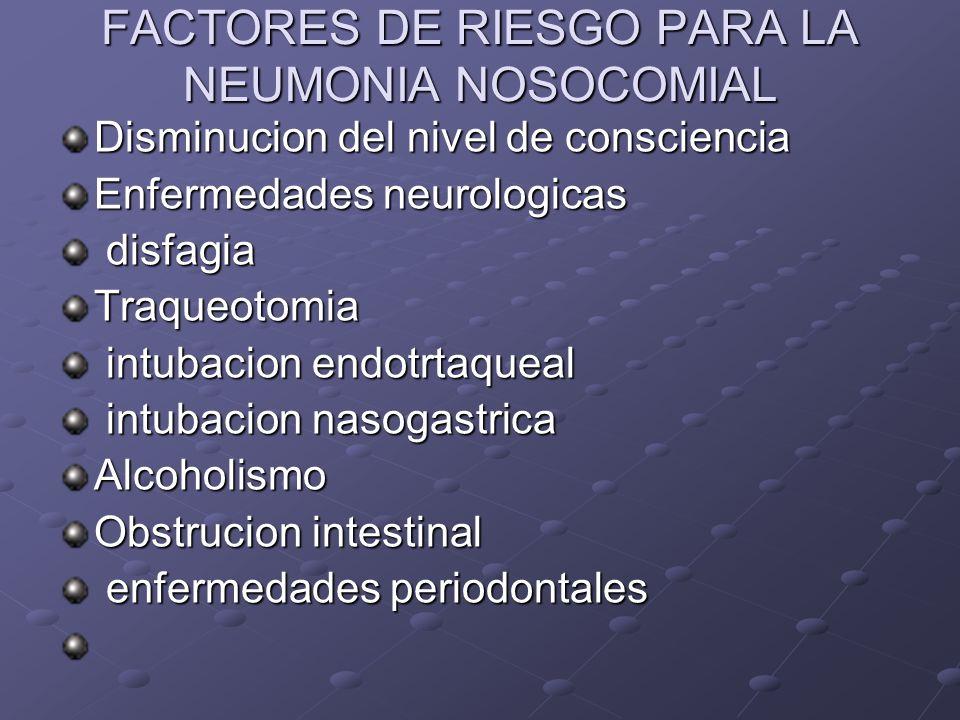 FACTORES DE RIESGO PARA LA NEUMONIA NOSOCOMIAL Disminucion del nivel de consciencia Enfermedades neurologicas disfagia disfagiaTraqueotomia intubacion