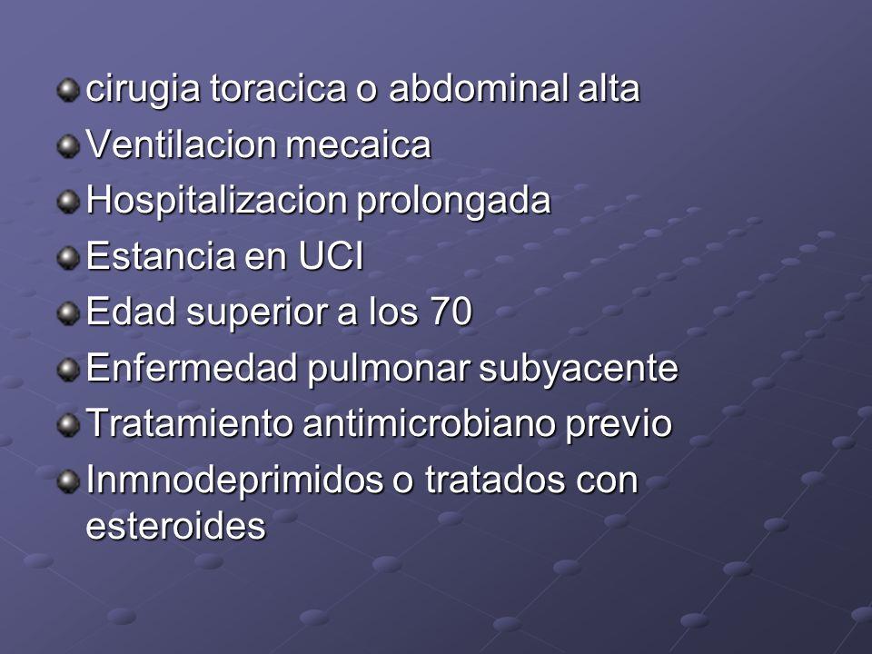 cirugia toracica o abdominal alta Ventilacion mecaica Hospitalizacion prolongada Estancia en UCI Edad superior a los 70 Enfermedad pulmonar subyacente