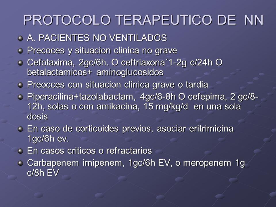 PROTOCOLO TERAPEUTICO DE NN A. PACIENTES NO VENTILADOS Precoces y situacion clinica no grave Cefotaxima, 2gc/6h. O ceftriaxona´1-2g c/24h O betalactam