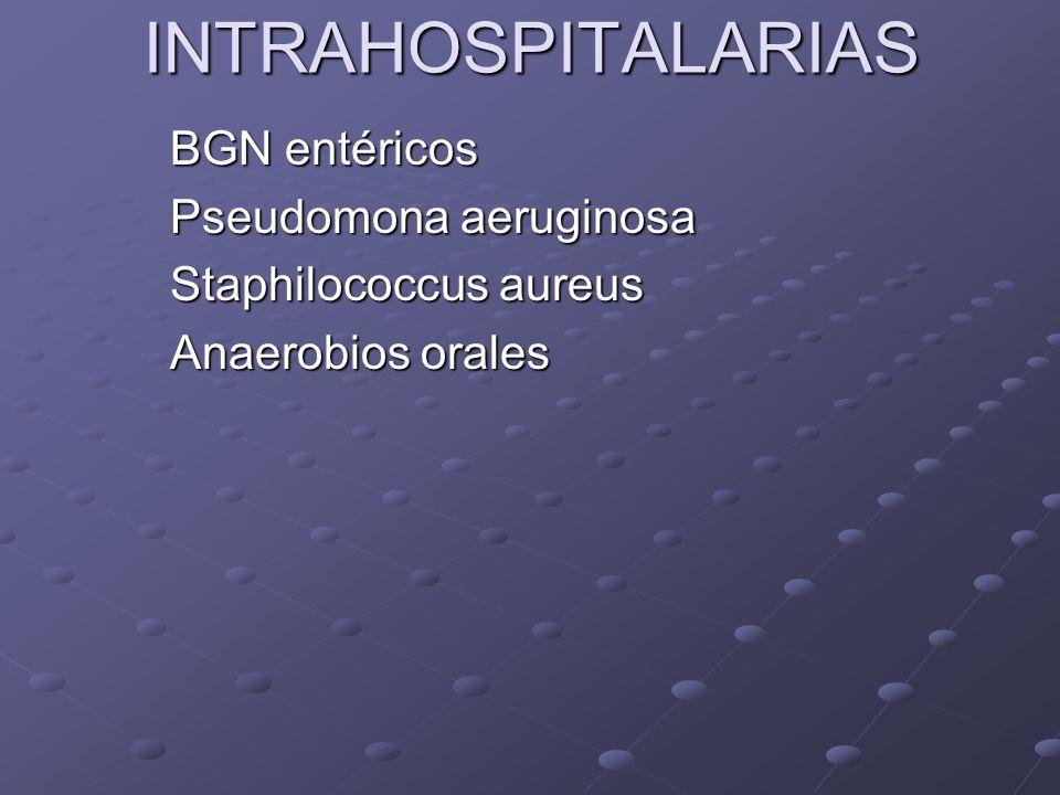 INTRAHOSPITALARIAS BGN entéricos Pseudomona aeruginosa Staphilococcus aureus Anaerobios orales