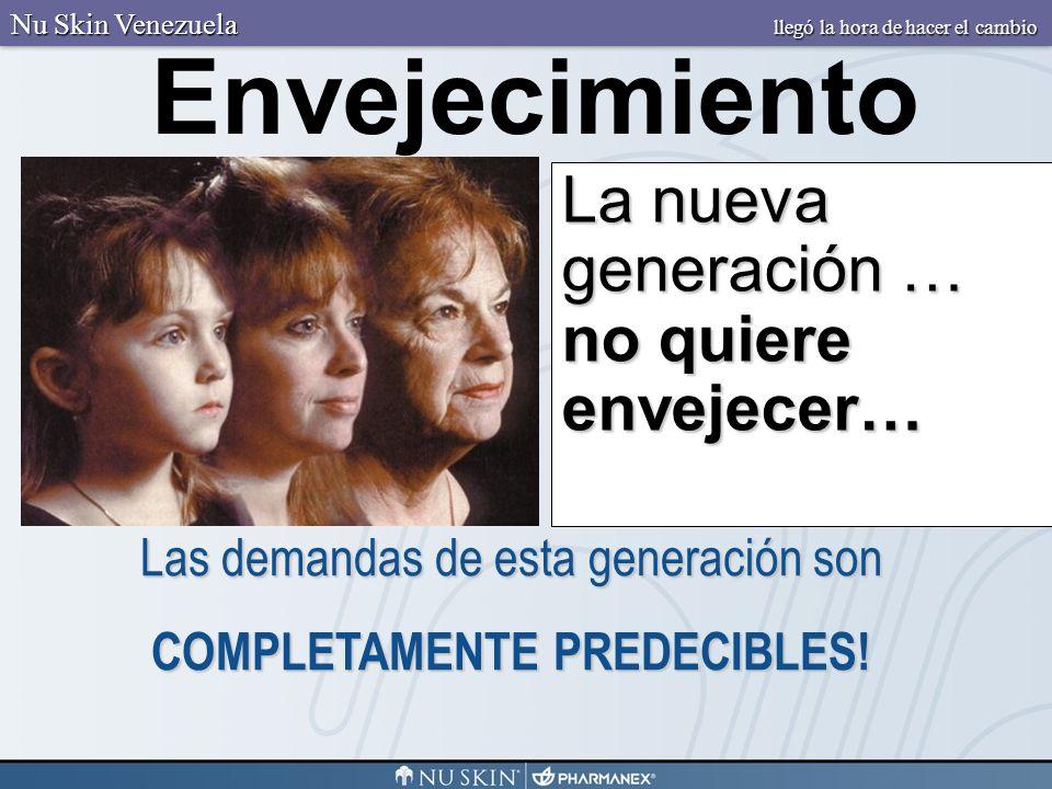 La nueva generación … no quiere envejecer… Envejecimiento Las demandas de esta generación son COMPLETAMENTE PREDECIBLES! Nu Skin Venezuela llegó la ho