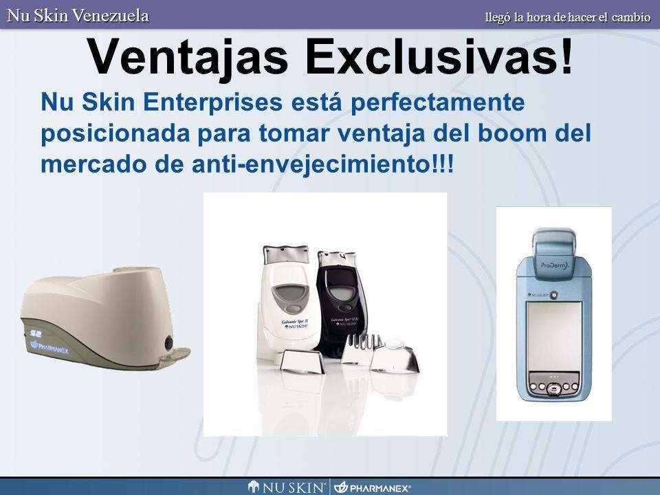 Ventajas Exclusivas! Nu Skin Enterprises está perfectamente posicionada para tomar ventaja del boom del mercado de anti-envejecimiento!!! Nu Skin Vene
