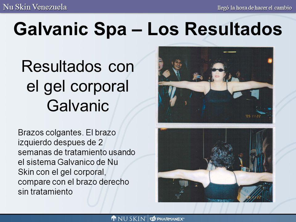 Resultados con el gel corporal Galvanic Brazos colgantes. El brazo izquierdo despues de 2 semanas de tratamiento usando el sistema Galvanico de Nu Ski