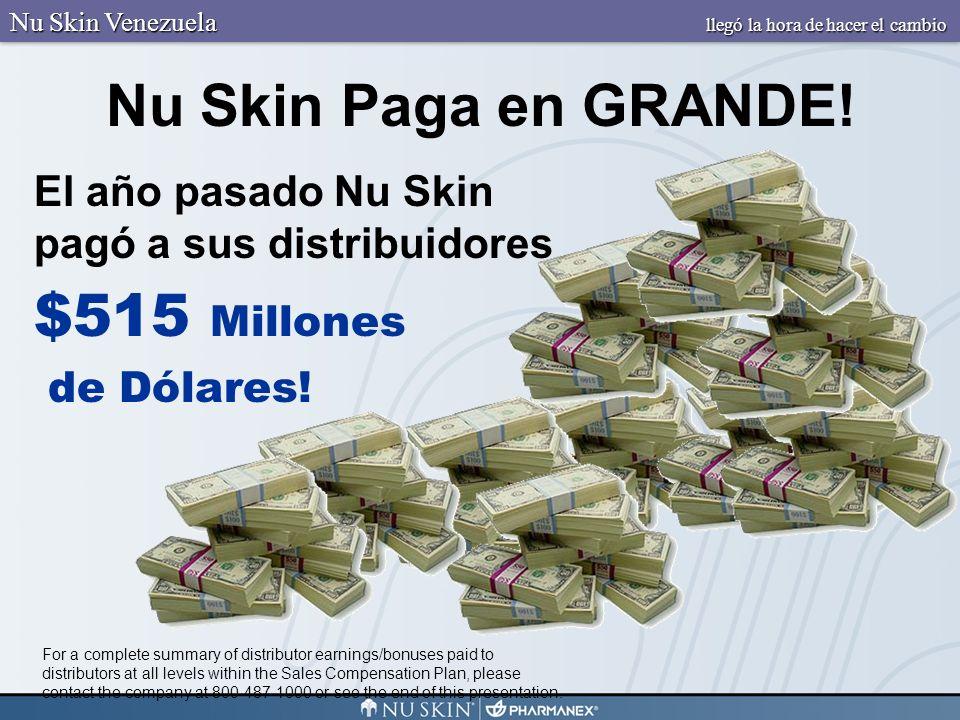 Nu Skin Paga en GRANDE! El año pasado Nu Skin pagó a sus distribuidores $515 Millones de Dólares! For a complete summary of distributor earnings/bonus