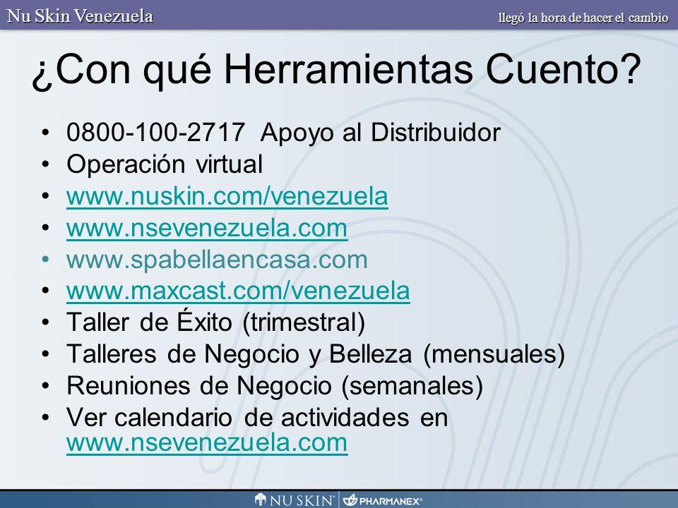 ¿Con qué Herramientas Cuento? 0800-100-2717 Apoyo al Distribuidor Operación virtual www.nuskin.com/venezuela www.nsevenezuela.com www.spabellaencasa.c