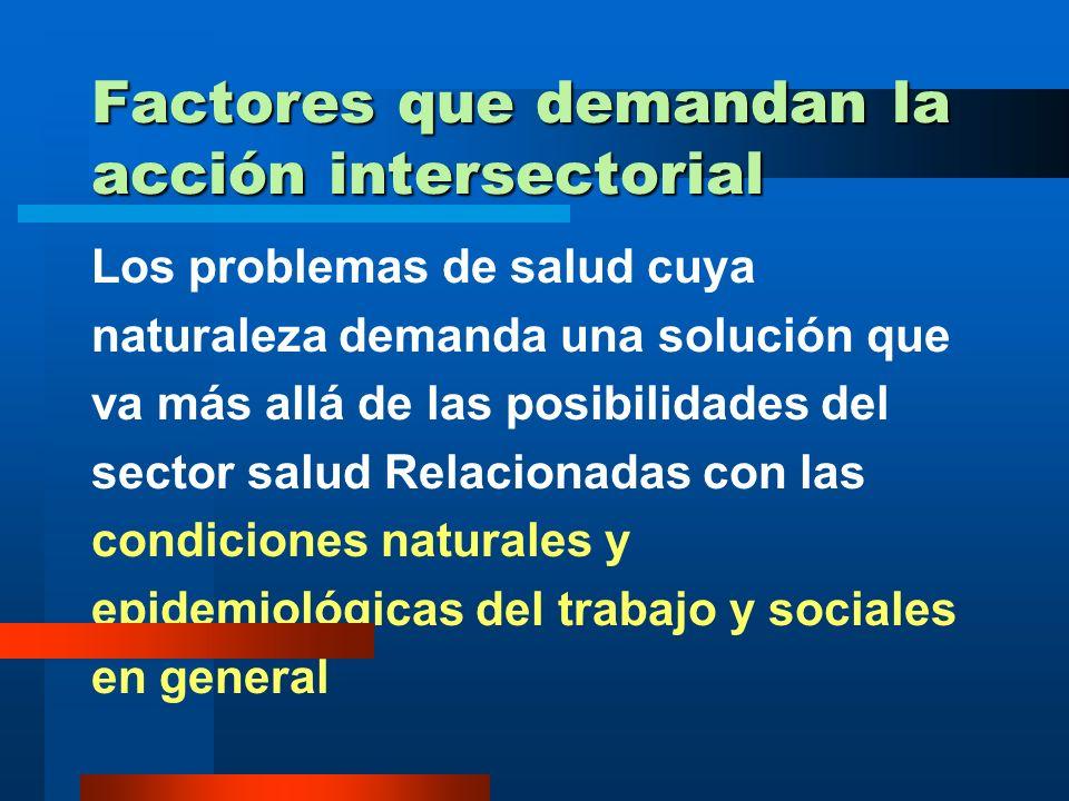 Factores relacionados con la Intersectorialidad Factores que demandan la acción intersectorial Factores que caracterizan la respuesta intersectorial F