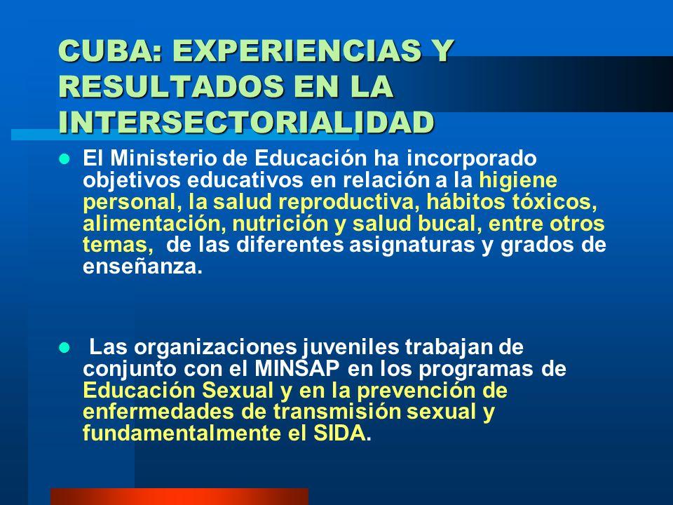 MECANISMOS QUE HAN DADO RESPUESTA A LA INTERSECTORIAL EN CUBA La Federación de Mujeres Cubanas ha trabajado con el MINSAP en todo lo relacionado con l