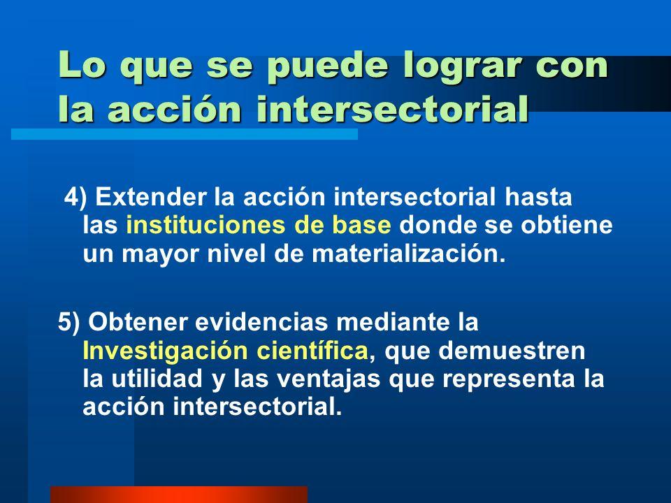 Lo que se puede lograr con la acción intersectorial 3. Definir las alternativas que faciliten incrementar la participación de todos los sectores socia