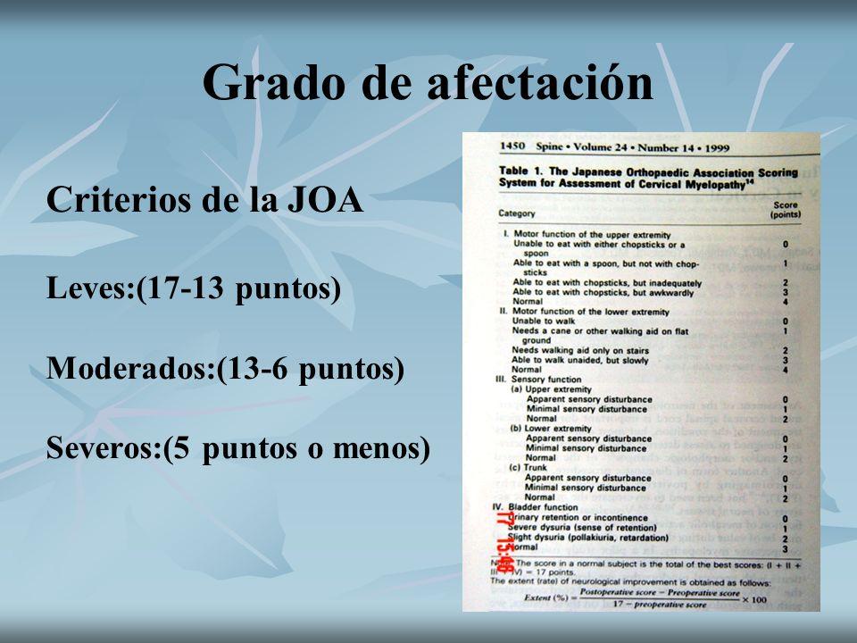Grado de afectación Criterios de la JOA Leves:(17-13 puntos) Moderados:(13-6 puntos) Severos:(5 puntos o menos)